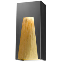 Millenial LED 13 inch Black Gold Outdoor Wall Sconce in Chisel