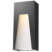 Millenial LED 13 inch Black Silver Outdoor Wall Sconce in Frosted Ribbed