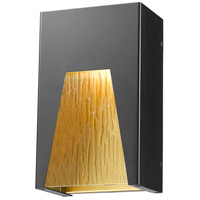 Millenial LED 10 inch Black Gold Outdoor Wall Sconce in Chisel