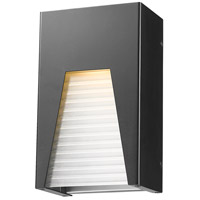 Millenial LED 10 inch Black Silver Outdoor Wall Sconce in Frosted Ribbed