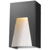 Millenial LED 10 inch Black Silver Outdoor Wall Sconce in Clear Seedy Glass