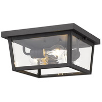 Z-Lite 568F-BK Beacon 3 Light 12 inch Black Outdoor Flush Ceiling Mount Fixture