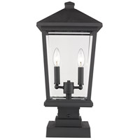 Z-Lite 568PHBS-SQPM-BK Beacon 2 Light 23 inch Black Outdoor Pier Mount