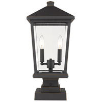 Z-Lite 568PHBS-SQPM-ORB Beacon 2 Light 23 inch Oil Rubbed Bronze Outdoor Pier Mount