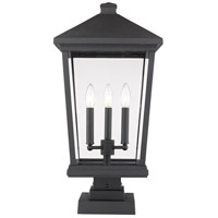 Z-Lite 568PHXLS-SQPM-BK Beacon 3 Light 23 inch Black Outdoor Pier Mounted Fixture