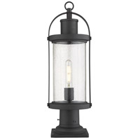 Z-Lite 569PHM-533PM-BK Roundhouse 1 Light 22 inch Black Outdoor Pier Mounted Fixture