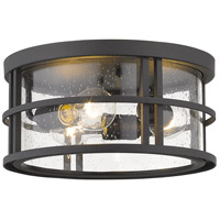 Z-Lite 570F-BK Jordan 3 Light 12 inch Black Outdoor Flush Ceiling Mount Fixture