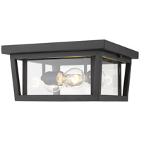 Z-Lite 571F-BK Seoul 3 Light 12 inch Black Outdoor Flush Ceiling Mount Fixture