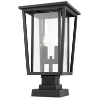 Z-Lite 571PHBS-SQPM-BK Seoul 2 Light 21 inch Black Outdoor Pier Mounted Fixture