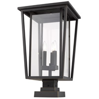 Z-Lite 571PHXLS-SQPM-ORB Seoul 3 Light 25 inch Oil Rubbed Bronze Outdoor Pier Mounted Fixture