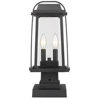 Z-Lite 574PHMS-SQPM-BK Millworks 2 Light 18 inch Black Outdoor Pier Mounted Fixture in 5.5