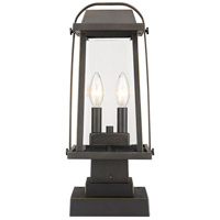 Z-Lite 574PHMS-SQPM-ORB Millworks 2 Light 18 inch Oil Rubbed Bronze Outdoor Pier Mounted Fixture in 5.5