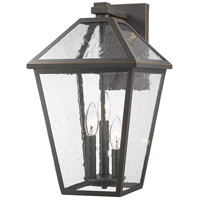 Z-Lite 579B-ORB Talbot 3 Light 18 inch Rubbed Bronze Outdoor Wall Sconce in Seedy Glass