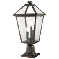 Z-Lite 579PHBR-533PM-ORB Talbot 3 Light 23 inch Rubbed Bronze Outdoor Pier Mounted Fixture in Seedy Glass