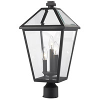 Z-Lite 579PHBR-BK Talbot 3 Light 21 inch Black Outdoor Post Mount Fixture in Clear Beveled Glass