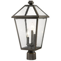 Z-Lite 579PHBR-ORB Talbot 3 Light 21 inch Rubbed Bronze Outdoor Post Mount Fixture in Seedy Glass