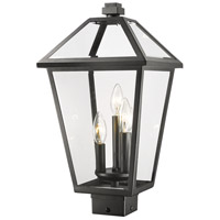 Z-Lite 579PHBS-BK Talbot 3 Light 19 inch Black Outdoor Post Mount Fixture in Clear Beveled Glass