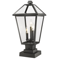 Z-Lite 579PHBS-SQPM-BK Talbot 3 Light 22 inch Black Outdoor Pier Mounted Fixture in Clear Beveled Glass
