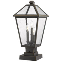 Z-Lite 579PHBS-SQPM-ORB Talbot 3 Light 22 inch Rubbed Bronze Outdoor Pier Mounted Fixture in Seedy Glass
