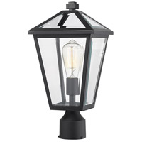 Z-Lite 579PHMR-BK Talbot 1 Light 17 inch Black Outdoor Post Mount Fixture in Clear Beveled Glass