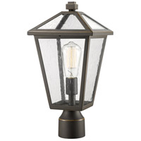 Z-Lite 579PHMR-ORB Talbot 1 Light 17 inch Rubbed Bronze Outdoor Post Mount Fixture in Seedy Glass
