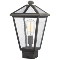 Z-Lite 579PHMS-ORB Talbot 1 Light 15 inch Rubbed Bronze Outdoor Post Mount Fixture in Seedy Glass