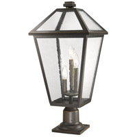 Z-Lite 579PHXLR-533PM-ORB Talbot 3 Light 26 inch Rubbed Bronze Outdoor Pier Mounted Fixture in Seedy Glass