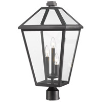 Z-Lite 579PHXLR-BK Talbot 3 Light 24 inch Black Outdoor Post Mount Fixture in Clear Beveled Glass