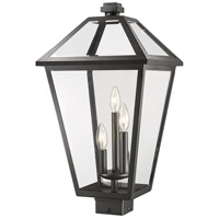 Z-Lite 579PHXLS-BK Talbot 3 Light 23 inch Black Outdoor Post Mount Fixture in Clear Beveled Glass