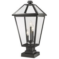 Z-Lite 579PHXLS-SQPM-BK Talbot 3 Light 25 inch Black Outdoor Pier Mount