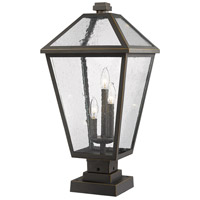 Z-Lite 579PHXLS-SQPM-ORB Talbot 3 Light 25 inch Rubbed Bronze Outdoor Pier Mounted Fixture in Seedy Glass