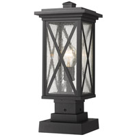 Z-Lite 583PHMS-SQPM-BK Brookside 1 Light 18 inch Black Outdoor Pier Mounted Fixture