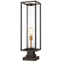 Z-Lite 584PHBS-SQPM-DBZ Dunbroch 1 Light 29 inch Deep Bronze and Outdoor Brass Outdoor Pier Mounted Fixture