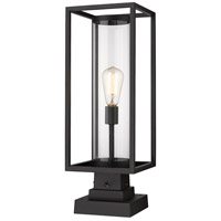 Z-Lite 584PHMS-SQPM-BK Dunbroch 1 Light 23 inch Black Outdoor Pier Mounted Fixture
