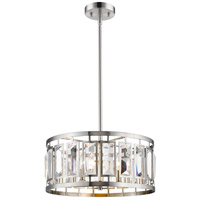 Z-Lite 6007-19BN Mersesse 5 Light 19 inch Brushed Nickel Pendant Ceiling Light in 13.4, Clear Crystal