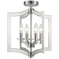 Zander 4 Light 15 inch Brushed Nickel Semi Flush Mount Ceiling Light