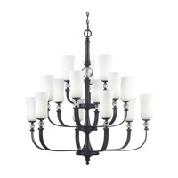 Z-Lite Harmony 15 Light Chandelier in Matte Black with White Glass 604-15