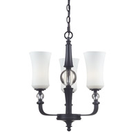 Z-Lite Harmony 3 Light Chandelier in Matte Black with White Glass 604-3