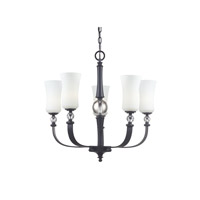 Z-Lite Harmony 5 Light Chandelier in Matte Black with White Glass 604-5