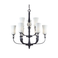 Z-Lite Harmony 9 Light Chandelier in Matte Black with White Glass 604-9