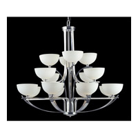Z-Lite Ellipse 16 Light Chandelier in Chrome with Matte Opal Glass 605-16