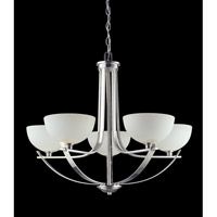 Z-Lite Ellipse 5 Light Chandelier in Chrome with Matte Opal Glass 605-5