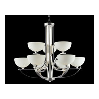 Z-Lite Ellipse 9 Light Chandelier in Chrome with Matte Opal Glass 605-9