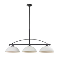Z-Lite Ellipse 3 Light Island/Billiard in Bronze with Matte Opal Glass 606-3
