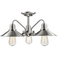 Casa 3 Light 20 inch Brushed Nickel Semi-Flush Mount Ceiling Light