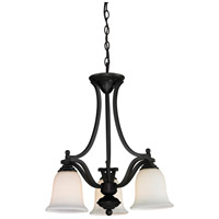 Lagoon 3 Light 20 inch Matte Black Chandelier Ceiling Light