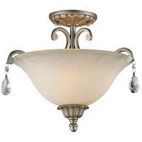 Melina 3 Light 17 inch Antique Silver Semi Flush Mount Ceiling Light