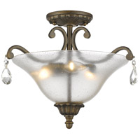Melina 3 Light 18 inch Golden Bronze Semi Flush Mount Ceiling Light