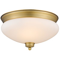 Amon 2 Light 13 inch Heritage Brass Flush Mount Ceiling Light