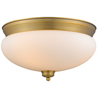 Amon 3 Light 15 inch Heritage Brass Flush Mount Ceiling Light
